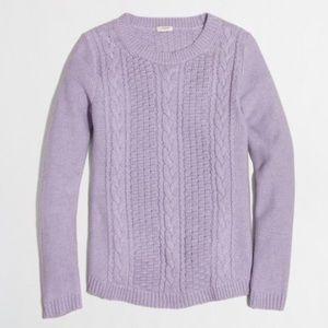 J. CREW lavender cable popcorn sweater, S.
